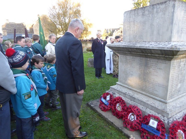Carl Schiller lays a wreath at St Saviour's Church