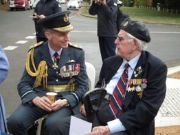 Air Chief Marshal Sir Stephen Hillier, KCB CBE DFC ADC MA chats with WWII RAF veteran Tom Sutherland.